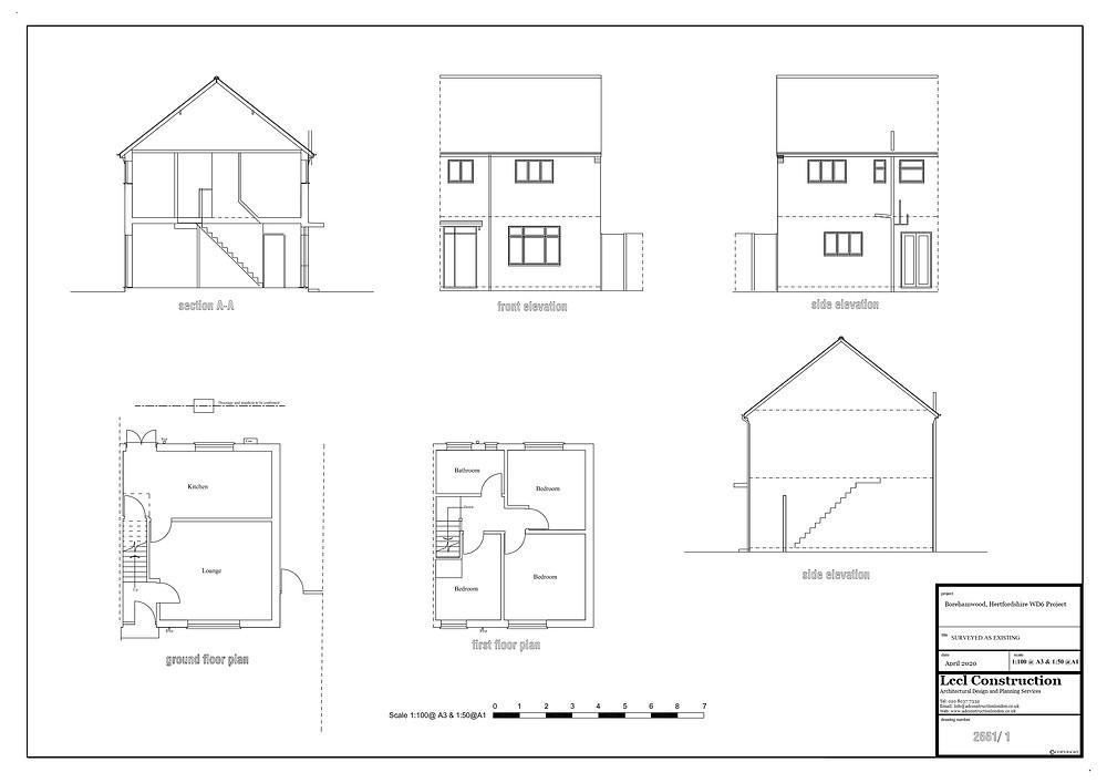 Loft Conversion Architectural Design Services Borehamwood Hertfordshire WD6 Project Exisitng