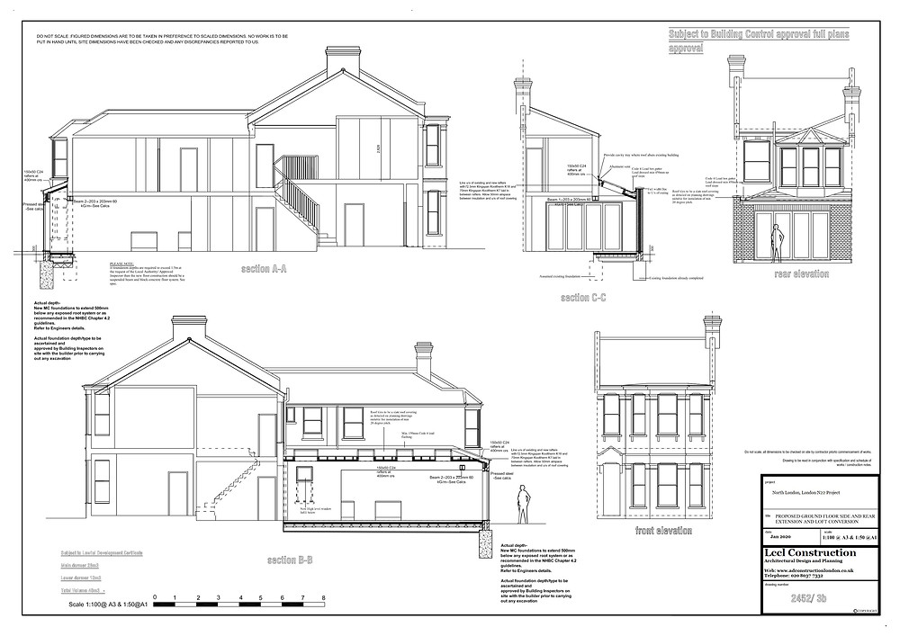 Cross section and elevations of wraparound home extension