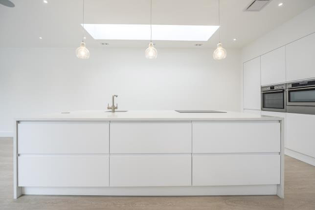 Kitchen Island for cooking and skylight