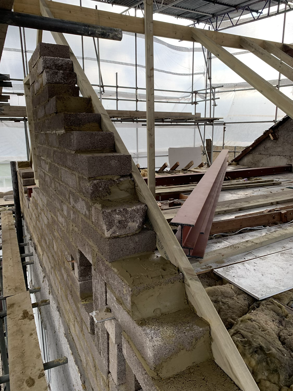 Installing the steels on hip to gable
