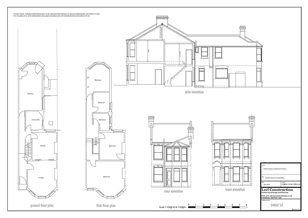 Architecture Services North London - London N22 Project Floor Plan Existing Elevations