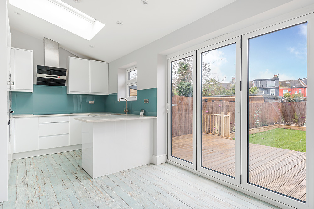 Rear house extension with open plan kitchen and dining