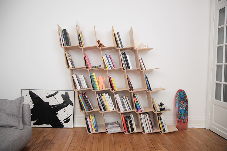 Modular shelving with books from Habitat