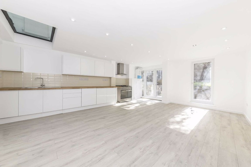 Basement conversion kitchen diner open plan with lightwell