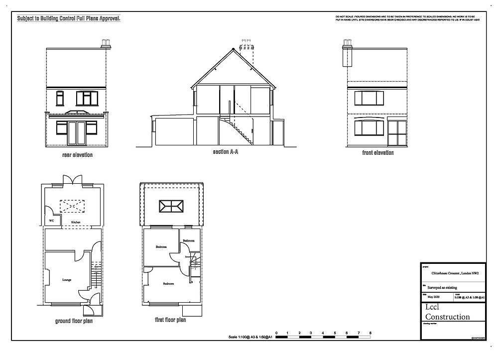 Loft conversion architectural design services Cricklewood, NW2 London Existing as Surveyed