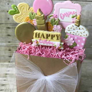 Happy Birthday - Pink and Gold  Cookie Bouquet | Simply Renee Sweets