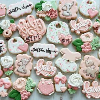 Watercolor Elephant Floral Baby Girl Cookies | Simply Renee Sweets
