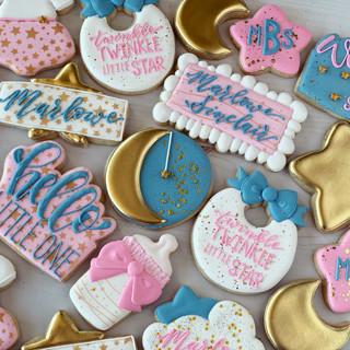 Girl Twinkle Little Star Baby Cookies | Simply Renee Sweets
