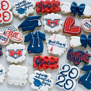 Red and Blue Graduation Cookies