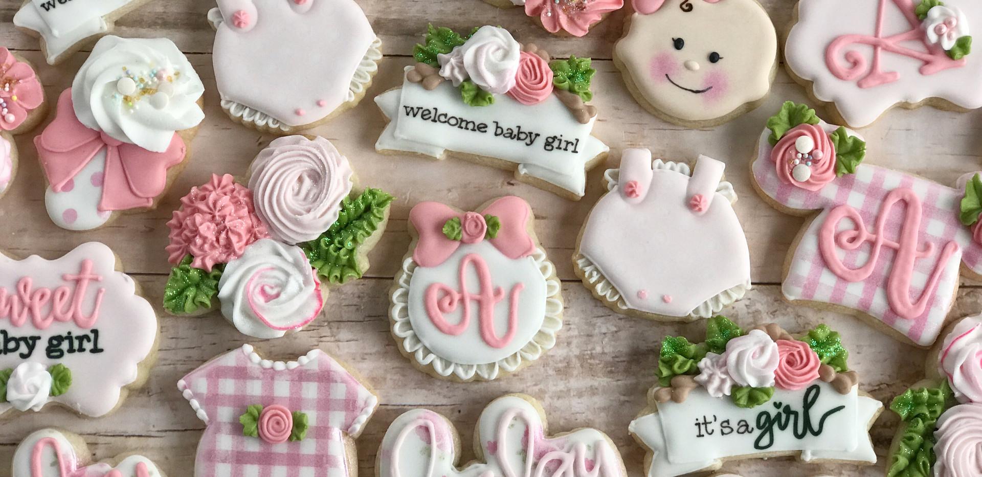 Pink Gingham Baby Cookies _ Simply Renee