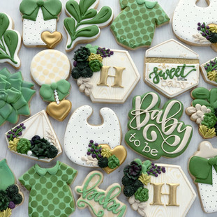 Succulent Neutral Baby Cookies | Simply Renee Sweets