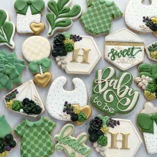 Succulent Neutral Baby Cookies | Simply Renee Sweets