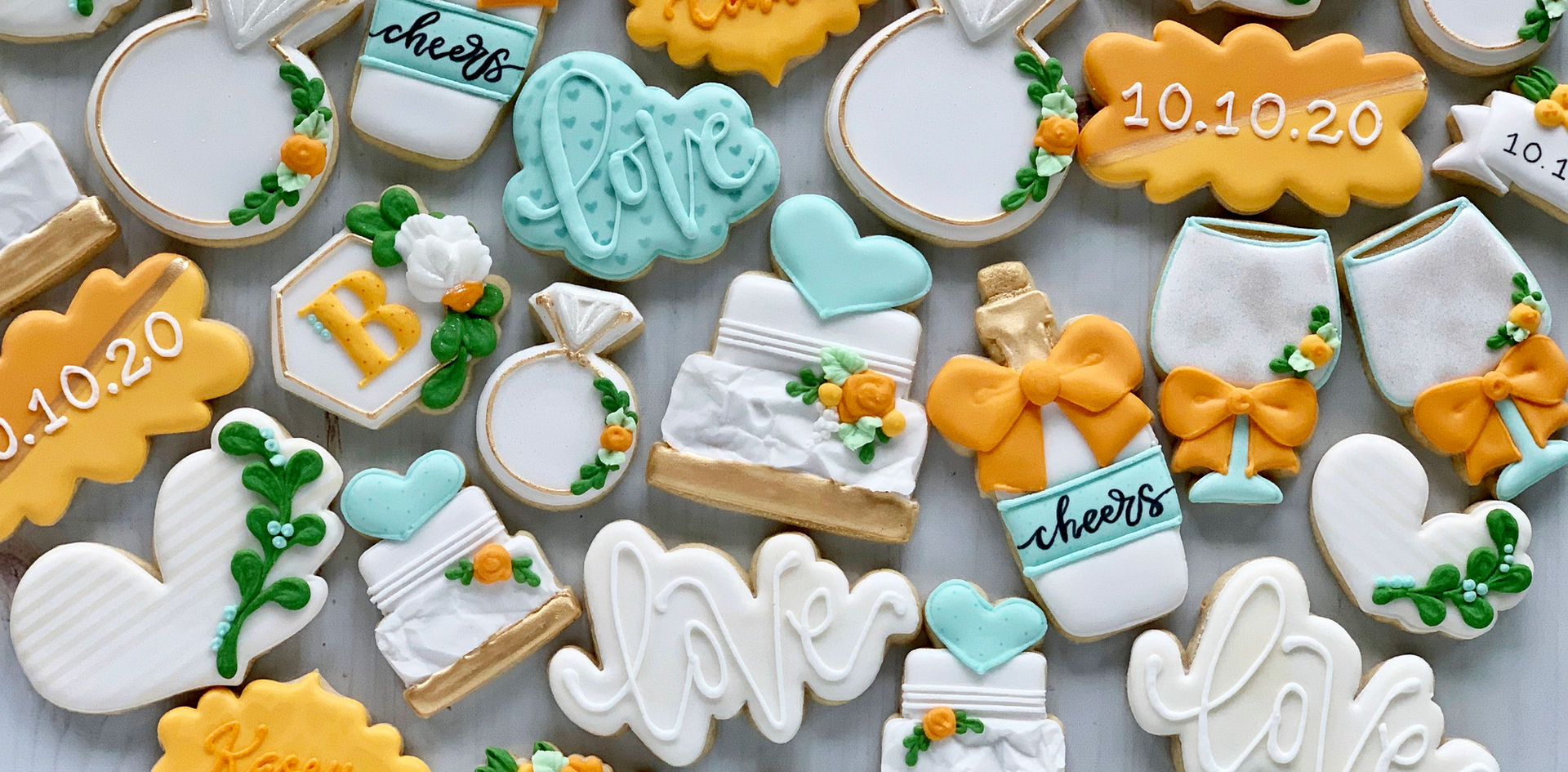 Orange and Aqua Wedding Cookies