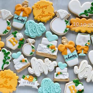 Citrus and Aqua Wedding Cookies