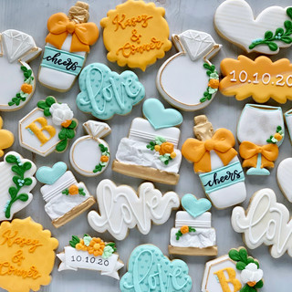 Citrus and Aqua Wedding Cookies