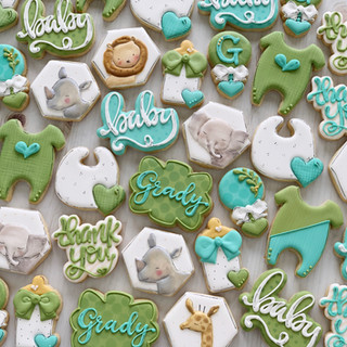 Watercolor Safari Green Baby Boy Cookies | Simply Renee Sweets
