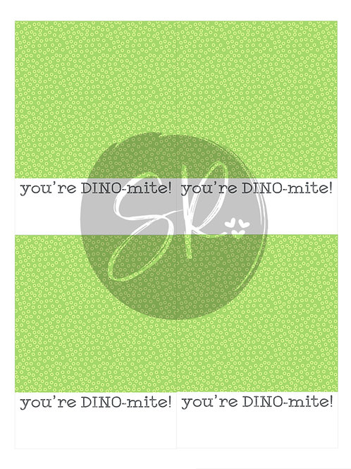 GREEN You're DINOmite - Cookie Card Printable