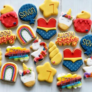 Rainbows, Unicorns, and Super Heroes Birthday Cookies