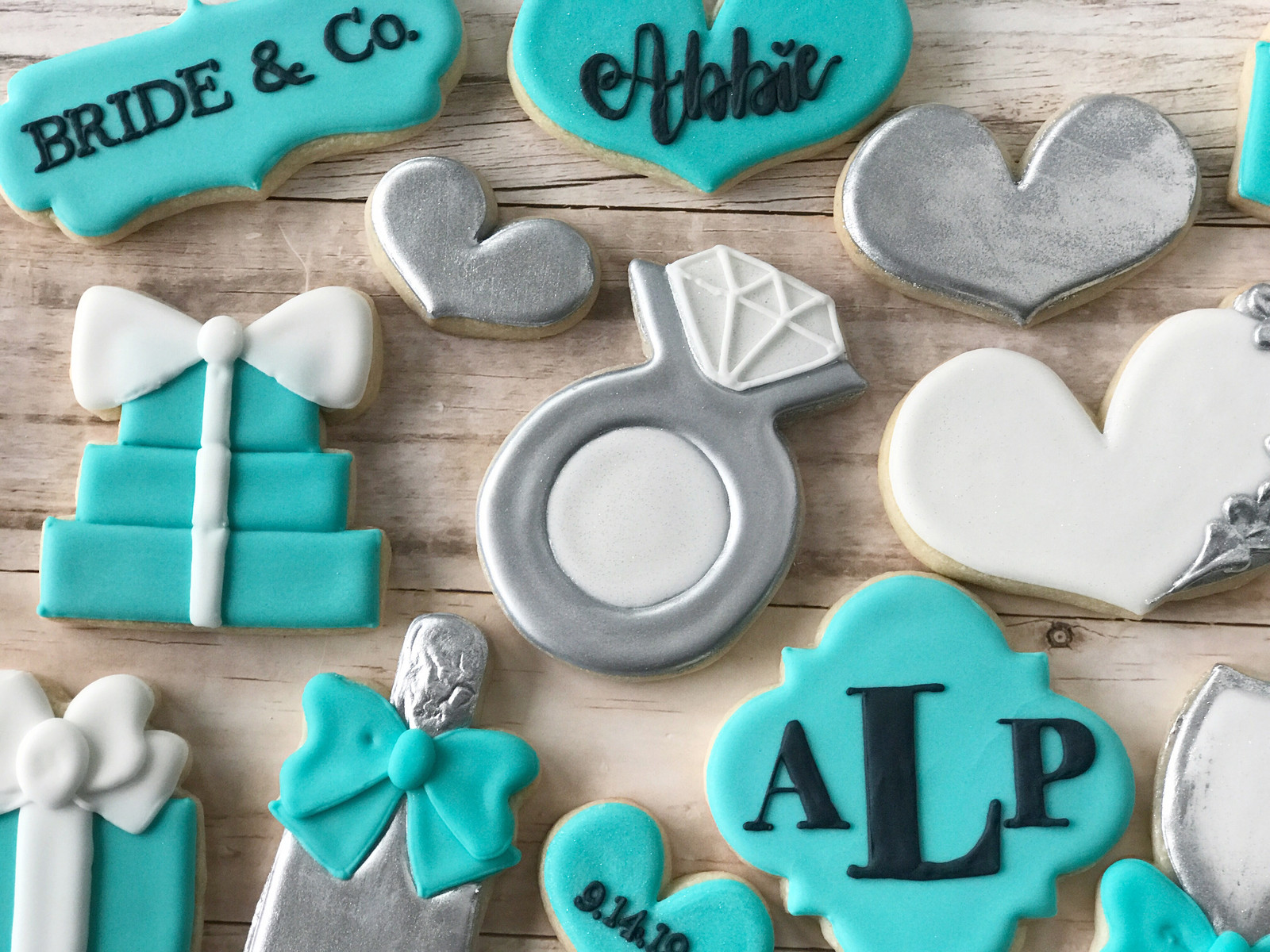 bride and co monogram tiffanys theme bridal shower cookies 3