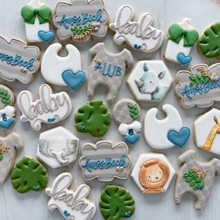 Watercolor Safari Gray Baby Boy Cookies | Simply Renee Sweets