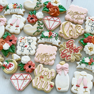 Floral & Champagne Bridal Cookies | Simply Renee Sweets
