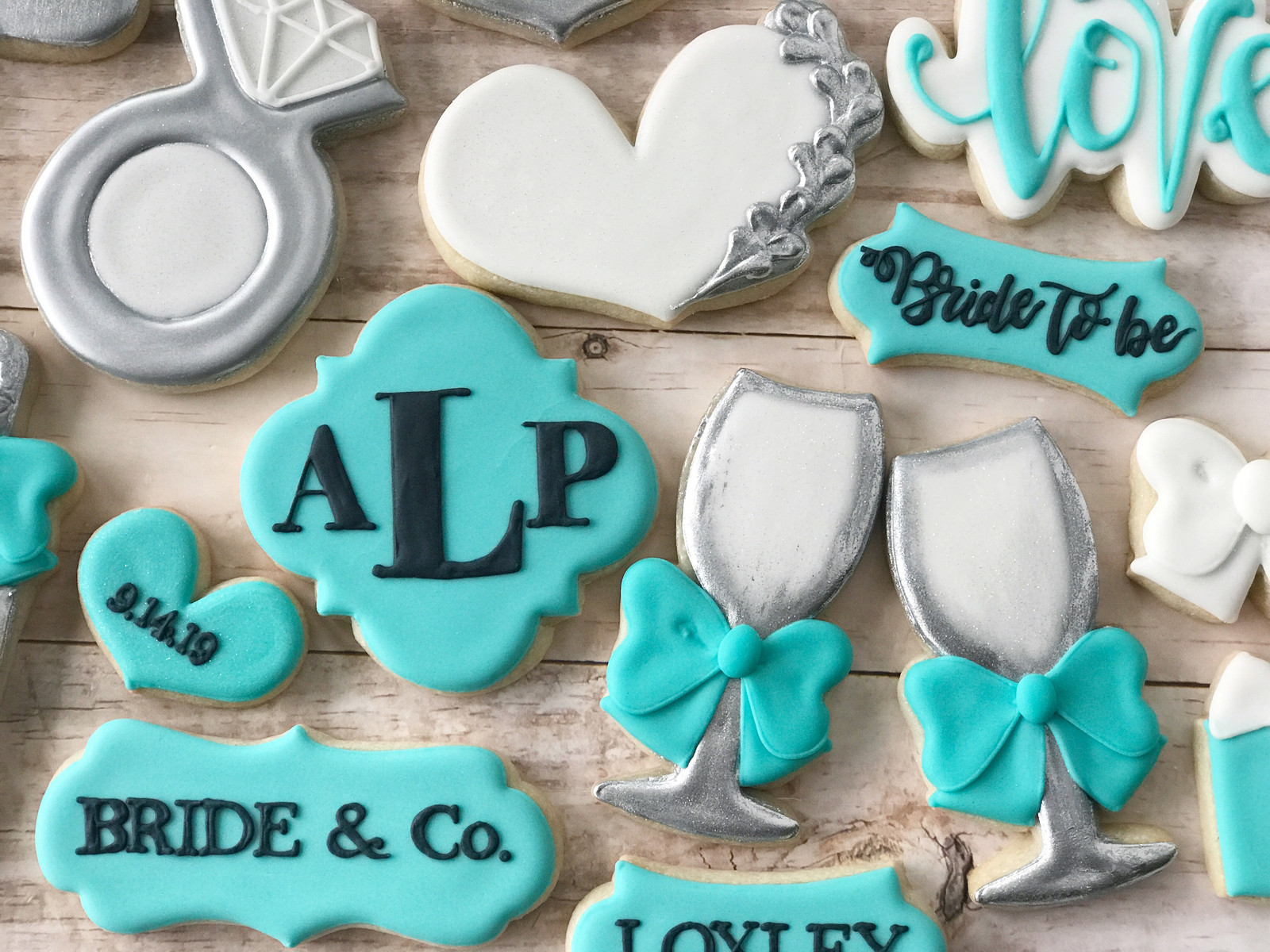 bride and co monogram tiffanys theme bridal shower cookies