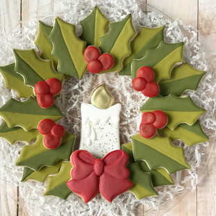 Christmas 2017 Decorated Cookies Holly Platter