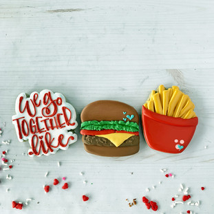We Go Together Like Burger & Fries Decorated Cookies
