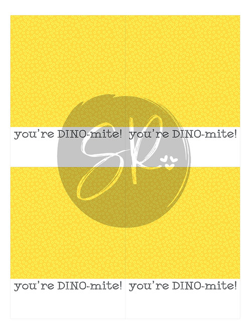 YELLOW You're DINOmite - Cookie Card Printable