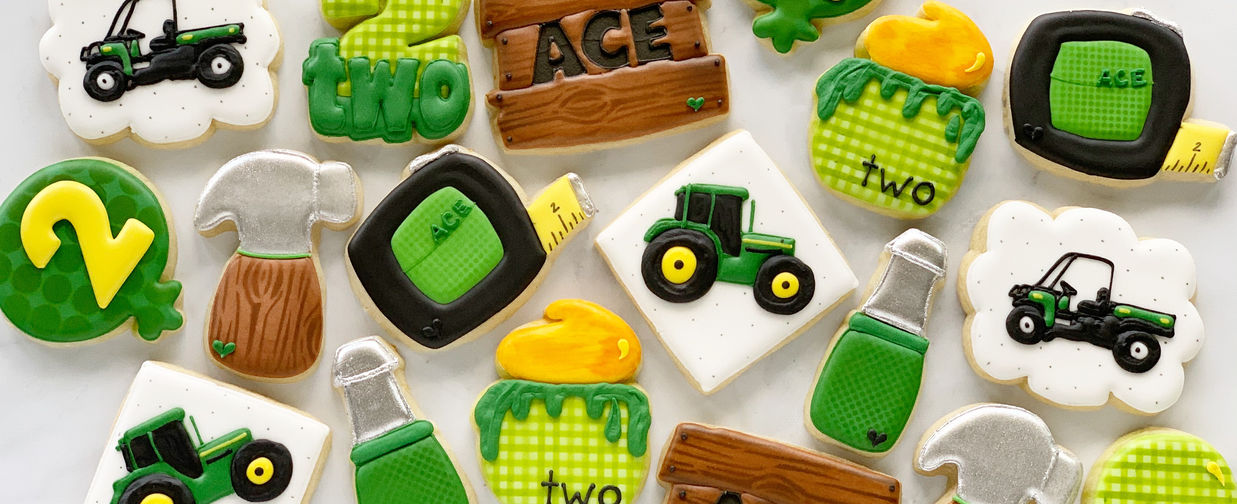 Tractors and Tools 2nd Birthday Cookies.