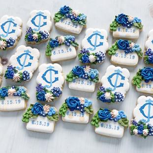 C&J Monogram Blue Wedding Cookies | Simply Renee Sweets