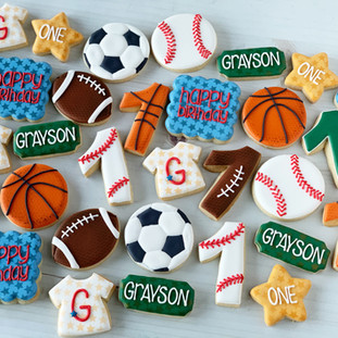 First Birthday Sports Cookies | Simply Renee Sweets