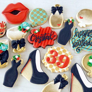 39th Red and Gold Birthday Cookies | Simply Renee Sweets