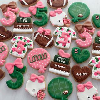 Girly Football Birthday Cookies   Simply Renee Sweets