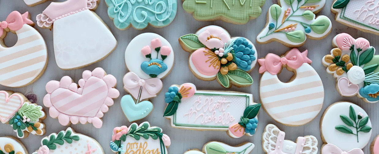Rifle Paper Inspired Floral Baby Cookies