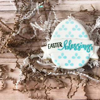 Easter Blessings Egg Decorated Cookies