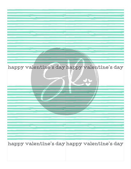 STRIPE Happy Valentine's Day - Cookie Card Printable