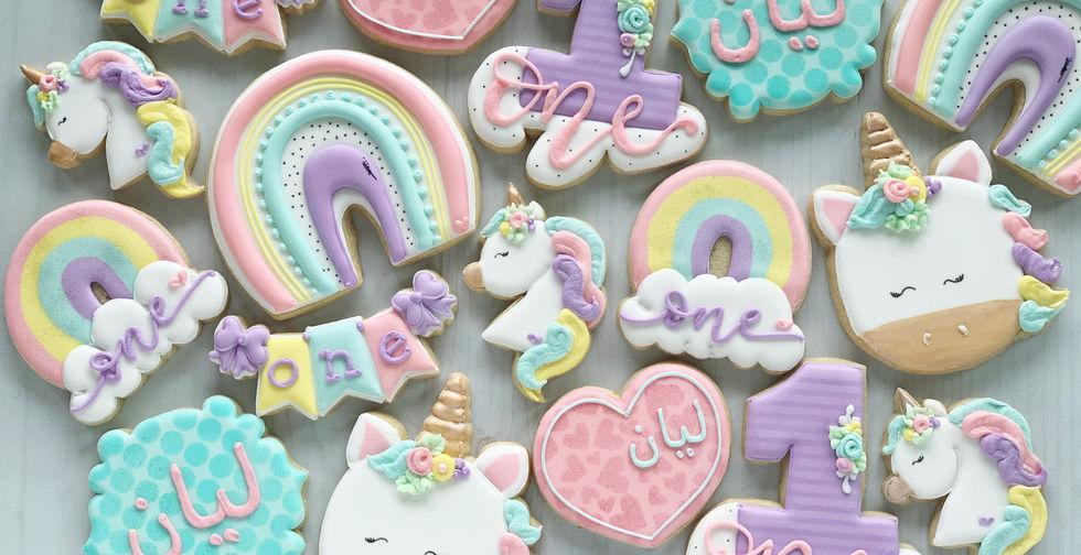 Unicorn and Rainbows 1st Birthday Cookie