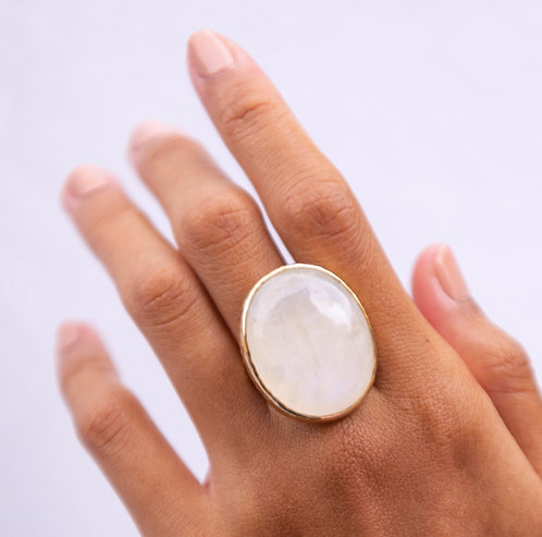 gold plated handcrafted ring, Moonstone Ring