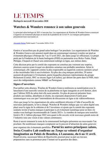 Watches & Wonders renonce à son salon ge