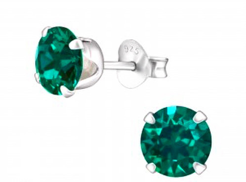 925 Sterling Silver Swarovski Emerald Birthstone Earrings May