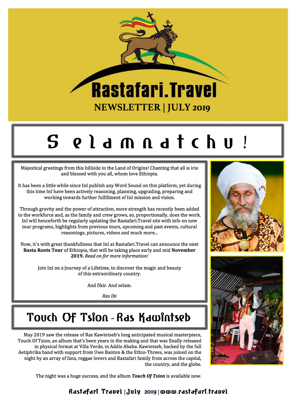 Rastafari.Travel | July 2019 | Newsletter