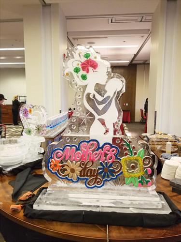 Seasonal ice sculpture - Happy Mother's Day.