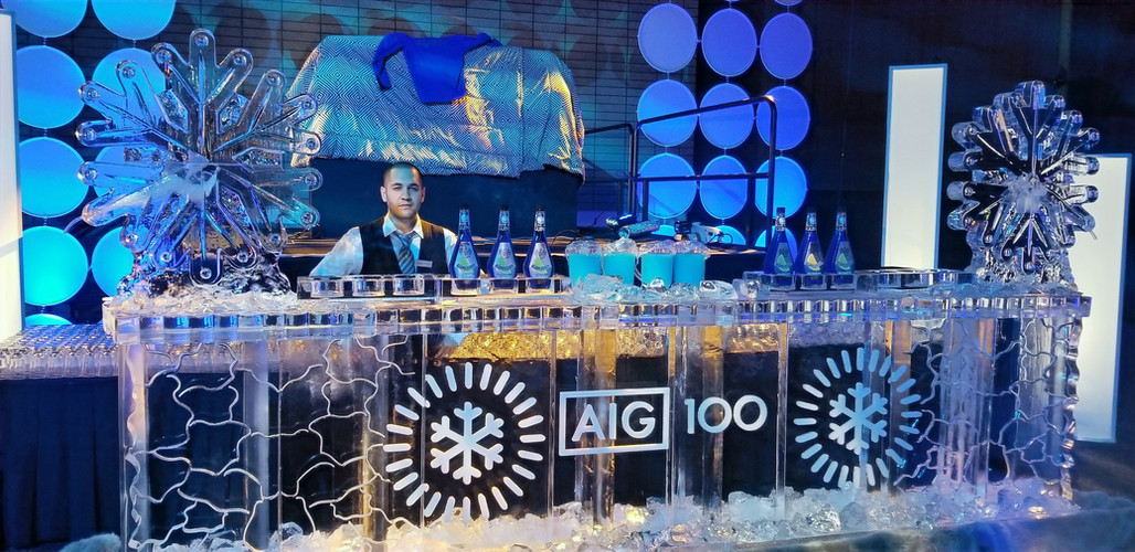 16ft Ice Bar featuring a Corporate logo and event theme.