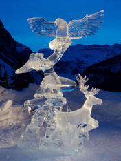 Multiblock hand carved ice sculpture - this was created by owner/carver Lee Ross out of 10 blocks of ice.