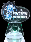 Corporate logo ice sculpture - featuring colored sand to highlight the logo.