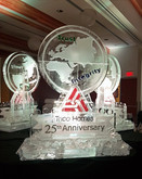Corporate Logo - celebrating 25 years.  Incorporated the world continents into three separate ice sculptures.