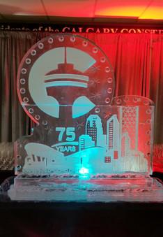 Corporate logo ice sculpture.