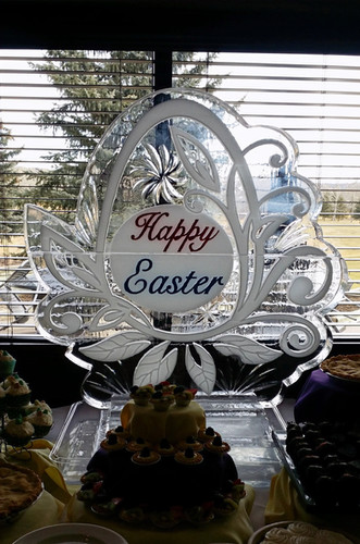 Seasonal ice sculpture - Happy Easter.