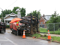 A DitchWitch machine is put into place t